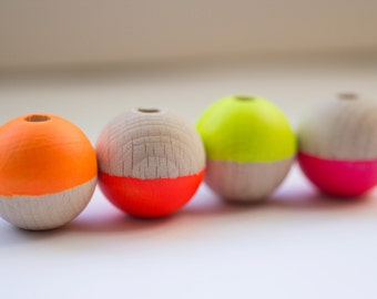 Minimal Geometric Neon Wooden Bead Necklace