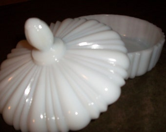 Old Cafe Milk Glass Candy Dish / Free Shipping