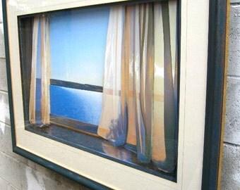 Long Golden Day - 3D Artwork - Framed Art - Window Curtains - Water Views -Ocean Art,Curtain Art,Ocean View,Art and Collectables,Mixed Media