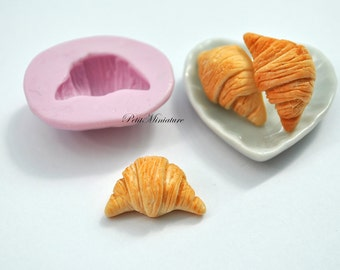 BREAD MOLD ST050 croissant bakery flexible silicone mold polymer clay jewelry charms sweet dollhouse miniature food kawaii cabochon