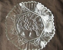 Vintage Federal Glass Platter with Fruit Imprint and Wavy Edges