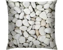 """White Pebbles Texture Cushion/Pillow 18"""""""