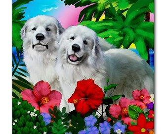 GREAT PYRENEES DOGS Tropical Beach Art Ceramic Tile Coaster