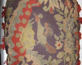 Vintage Petit Point and Needlepoint Pillow