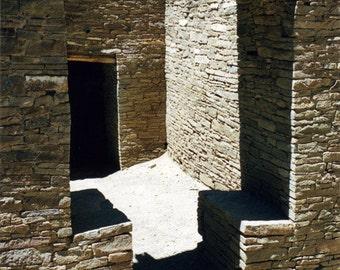 Photography, Chaco Canyon, NM, New Mexico, Pueblo, Stonework, Dry Masonry, Fine Art Print, Shadows, Home Decor, 5x7, 8x10, 11x14, Wall Art