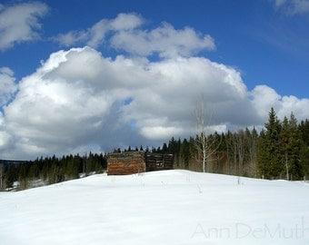 Photography, snow, Old log cabin, blue sky, clouds, British Columbia, Scenic, Fine Art Print, Home Decor, 5x7, 8x10, 11x14, Wall Art