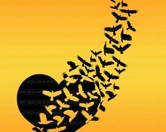 Crow heart sunsetdownladable printable art