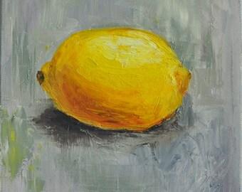 "Lemon - original oil painting on 6X6"" canvas. varnished"
