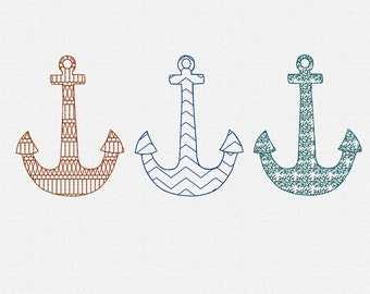 Anchor Set Redwork Machine Embroidery Design Pattern Download 4x4 Modern Redwork Embroidery Pattern