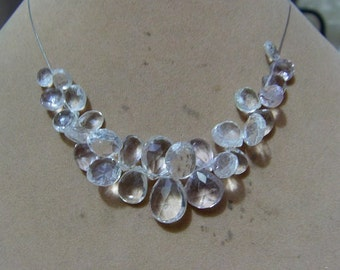 1 Strand  Clear quartz   Faceted Layout   beads  4''  20, grams