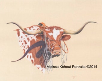 "Texas Longhorn art: ""Hoop Dreams,"" 8x10 and 11x14 Limited Edition prints"