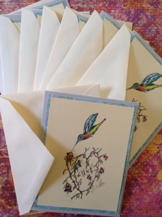 Stationary Note Cards Handmade Set - 8 Cards Blank Inside - 8 Envelopes - Illustration Hummingbird - Sketch Drawing - Acid Free Paper Goods