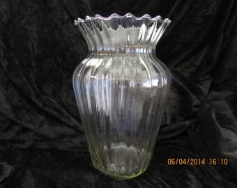 Vintage Clear Blown Glass Vase