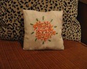 Orange Flowers Embroidered Pillow, FAAP, OFG, HAFAIR