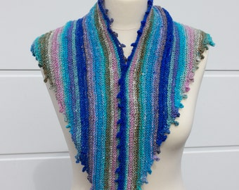 Ladies warm winter scarf / shawl / Blue and other colours stripey shawl / Knitted blue scarf