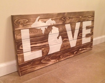 Rustic Stained LOVE Wood Wall Art With Michigan Image