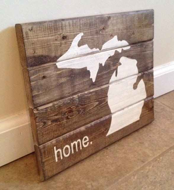 Ratings Feedback For Gavan Wood Painting Decorating: Michigan Home Sign Wood Wall Art By MittenMadeDesigns On Etsy