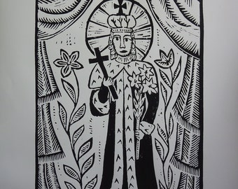 """Traditional Lithuanian Woodcut """"Saint Kazimieras"""" by Odeta Brazeniene"""