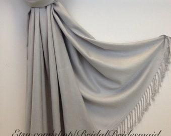 LIGHT GRAY SCARF - light gray shawl - bridal scarf - silver bridal shawl - silver pashmina - bridesmaid gift - silver shawl - silver scarf