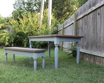 Grey Farmhouse Dining Table with Bench