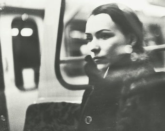 Budapest 4, original fine art photography, print, urban, portrait, 8x12, hungary, black and white, metro, monochrome, girl, beauty, lady