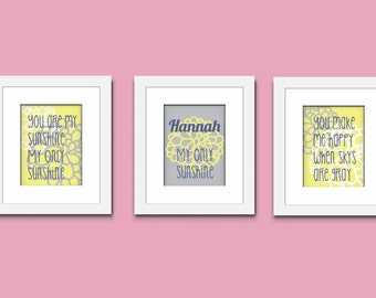 You Are My Sunshine Art Print, Childrens Art Print, Monogram Art Print, Wall Art, Kids Art Print, 518