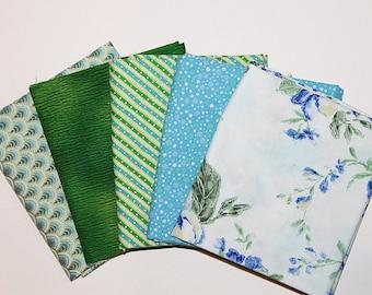 Cotton Fat Quarter Bundle, Blue & Green Mix, Fabric Destash, 5 Pc Bundle