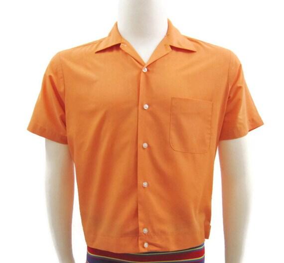 Vintage 1960s mens shirt mod perma press orange cropped tabbed back