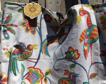 Heavy Duty Extra Large Beach Bag – Multi-Color Tropical Birds - Interior Zippered Pocket - Top Closure - Be Sandy