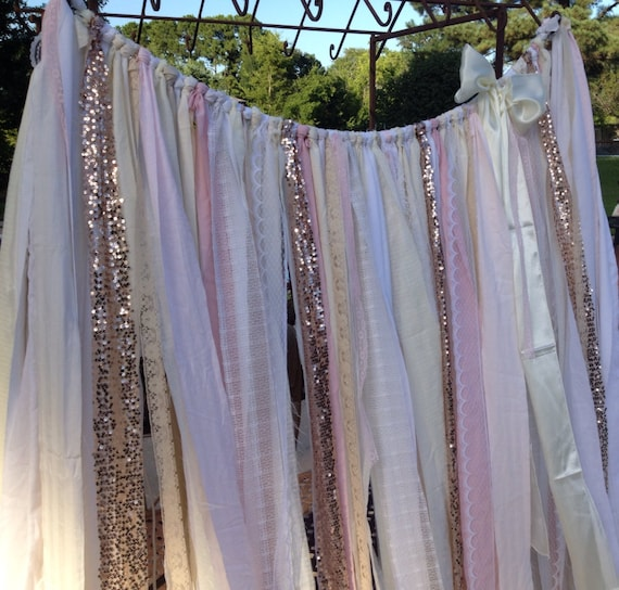 Rose Gold Sequin ribbon backdrop 5 x 6 garland curtain Sparkly Glitter ...