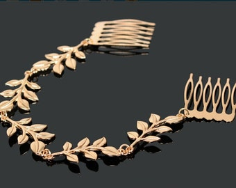 New HairWear Hair Jewelry  Golden Leaf Headband Comb Decoration