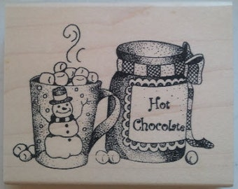 Snowman Hot Chocolate Rubber Stamp - 131M03