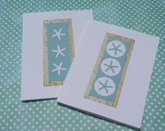 2 Nautical Beach Cards - Sand Dollar card, Starfish Card