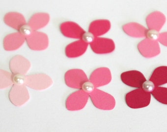 150 Tiny 1 inch pink paper Hydrangea flower pearl embellishments for scrapbooking, card making, weddings