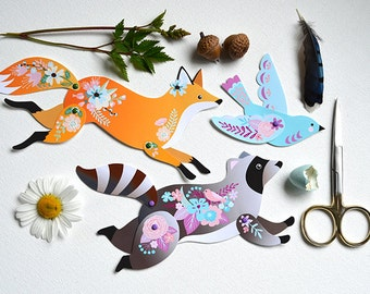Instant DIY Download - 4 Articulated Paper Dolls - Woodland Animals