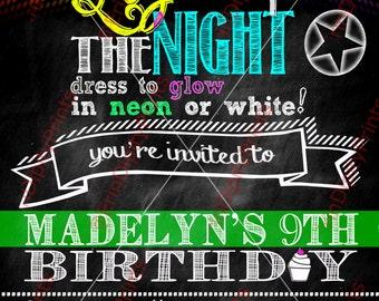 Neon Glow Birthday Party Invitation (Digital PDF File)