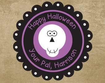 Personalized Halloween Stickers, Skull Stickers, Gift Stickers for Halloween, Halloween Favor Stickers for Goody Bags, Black and Purple