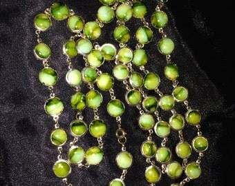 Vintage Green Stone Beaded Necklace