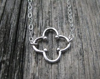 Quatrefoil Necklace Sterling Silver Quatrefoil Jewelry Geometric Necklace Four Leaf Clover Jewelry Silver Quatrefoil Bridesmaid Gift