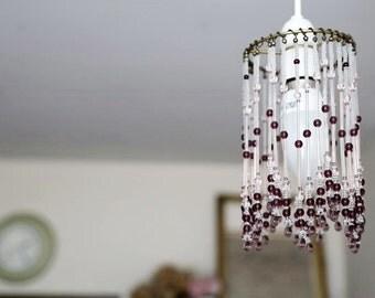 Glass beaded pendant light shade - 09
