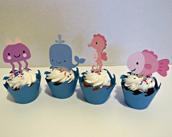 Under the Sea Cupcake Wrappers and Toppers - set of 12