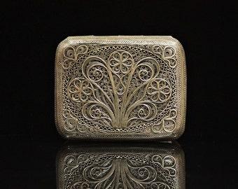 Antique original perfect silver filigree cigarette case