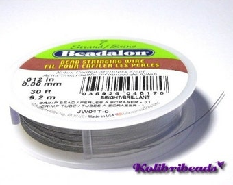 "1x 9.2m Beadalon 7 Strand Bead Stringing Wire 0.30mm (.012"") - Bright"