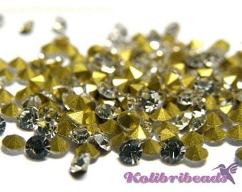 100x Grade A Glass Rhinestone Chatons 2.6 mm - Crystal (clear)