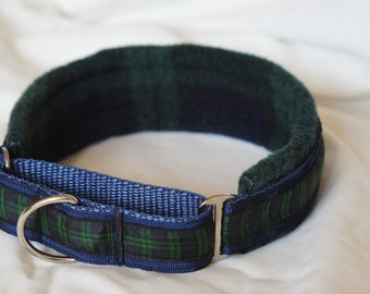 Fleece Lined Martingale Dog Collar - Blackwatch Tartan