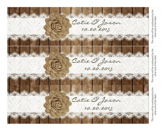 Rustic Lace Water Bottle Label DIY Add Your Own Text With
