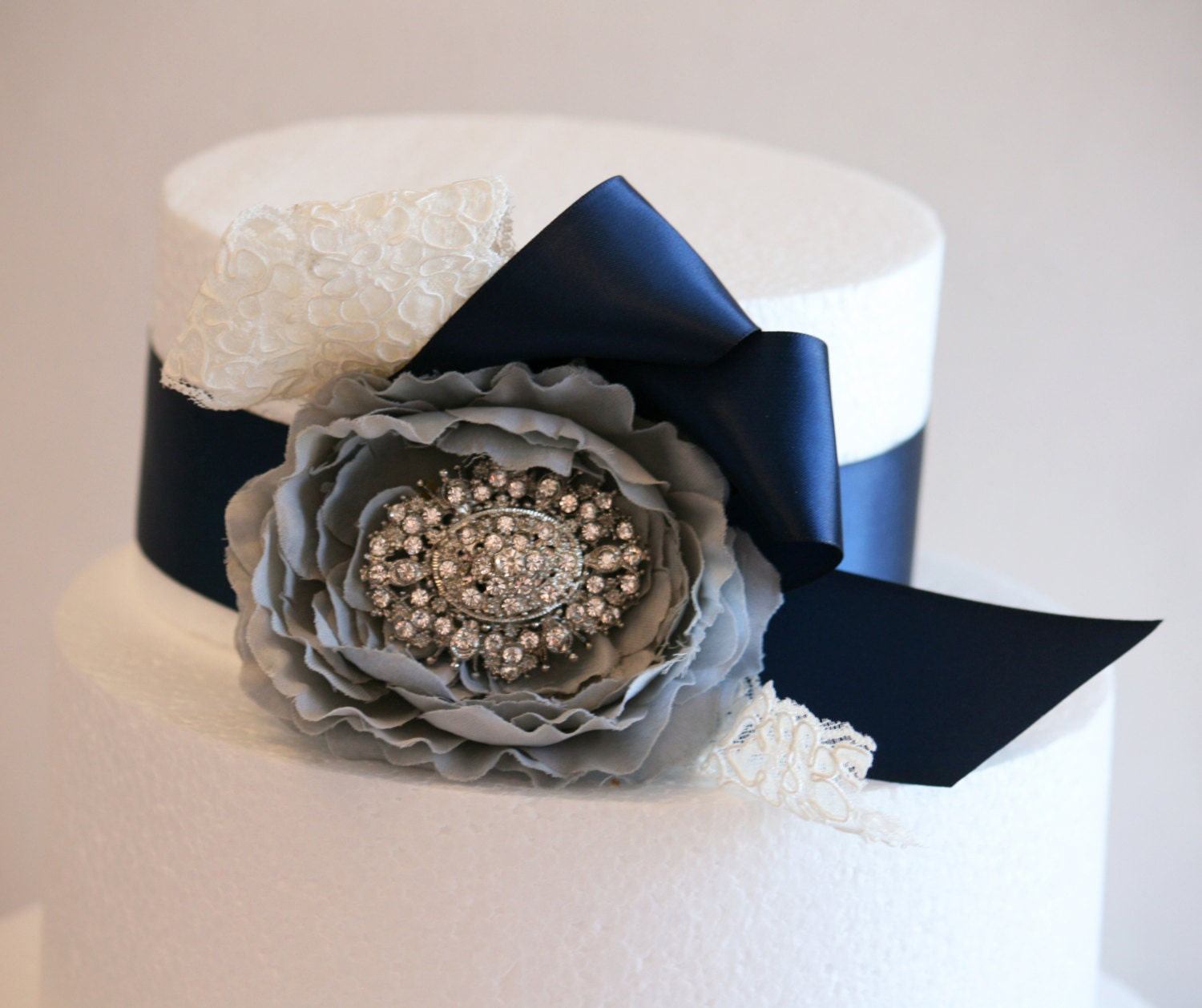 Pastel Gray Wedding Cake Decorations Gray And Navy By