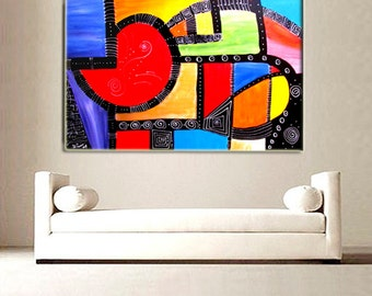 "Acrylic Handmade  Painting GALLERY ARTWORK - 24x36""-, Original Acrylic Painting on Canvas Contemporary Painting Wall Art"
