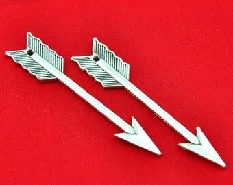 Shooting Arrows -10pcs Antique Silver Large Arrow Charm Pendants--11*63mm--G404