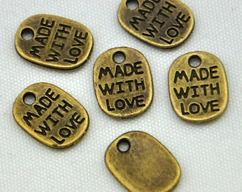 LOVE Charms -50pcs Antique Bronze made with LOVE Charm Pendants----8*10mm--G430
